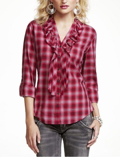 Express Plaid Ruffle Shirt - RED