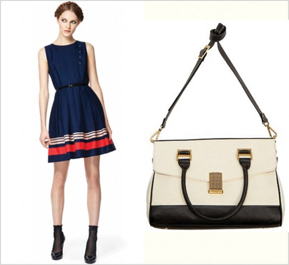 Jason Wu for Target first look blue striped dress black white bag