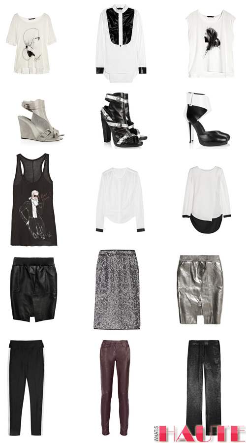 KARL by Karl Lagerfeld at Net-a-Porter tops t-shirts tanks cutout wedge sandals platforms leather skirts leather pants