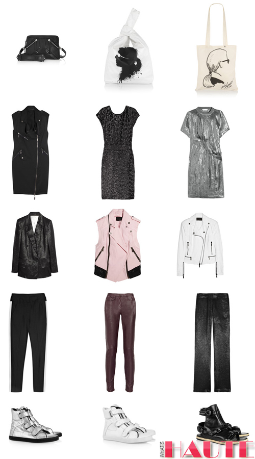 KARL by Karl Lagerfeld at Net-a-Porter handbags canvas tote bags cocktail dresses leather jackets leather vests sneakers leather pants track pants