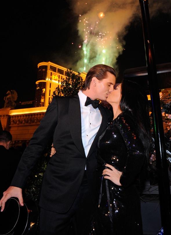 Kourtney Kardashian, Scott Disick, Joel And Benji Madden Ring In The New Year At Chateau Nightclub & Gardens Las Vegas, NV