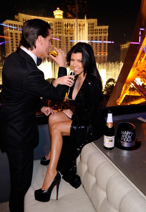 Kourtney-Kardashian-Scott-Disick-New-Years-Eve-style-Diane-von-Furstenberg-Sequined-Ariel-Gown-Christian-Louboutin-Daffodile-160mm-pumps-sparkling-cider