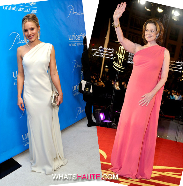 Who rocked it hotter: Kristen Bell vs. Sigourney Weaver in a Christian Dior Resort 2012 gown