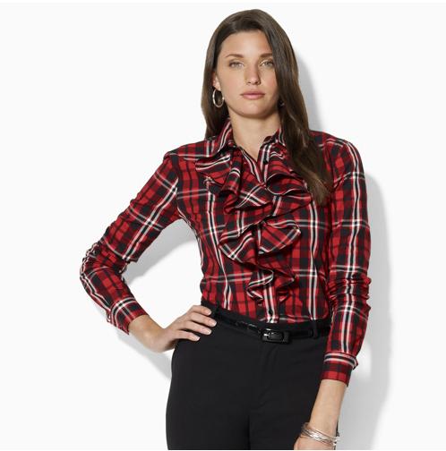 Nichol Ruffled Plaid Shirt - Lauren by Ralph Lauren