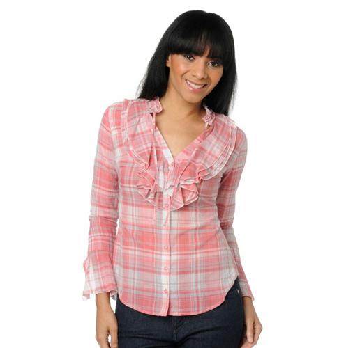 Libby Edelman Cotton Voile Button-Down Ruffle Shirt