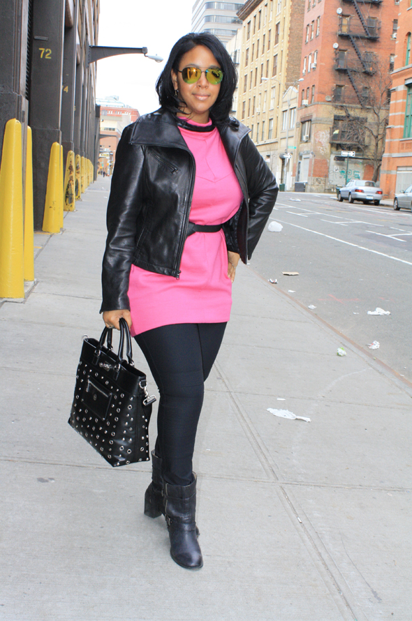 My Style Knomo Ravello bag hot pink Marc by Marc Jacobs dress DvF moto leggings Nine West boots Icing sunglasses D&G cuff Moschino watch 1