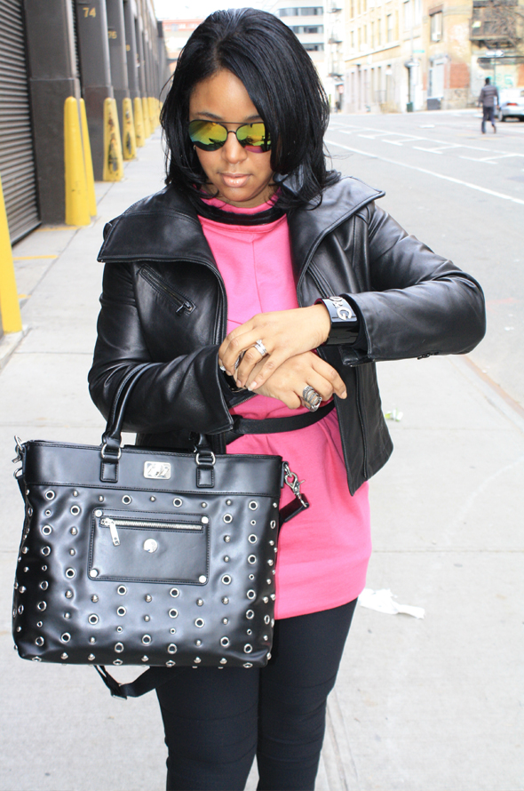 My Style Knomo Ravello bag hot pink Marc by Marc Jacobs dress DvF moto leggings Nine West boots Icing sunglasses D&G cuff Moschino watch 2