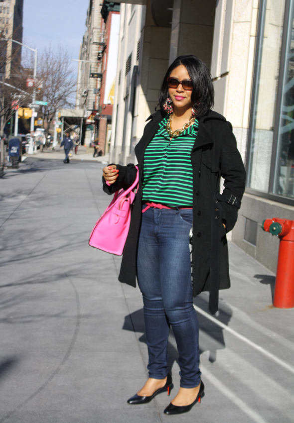 My style - J Crew striped blouse Hudson jeans hot pink/neon fluoro pink Celine Leather Luggage Tote black Christian Louboutin pumps Ben Amun gold link necklace 2