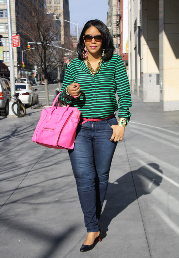 My style - J Crew striped blouse Hudson jeans hot pink/neon fluoro pink Celine Leather Luggage Tote black Christian Louboutin pumps Ben Amun gold link necklace 3