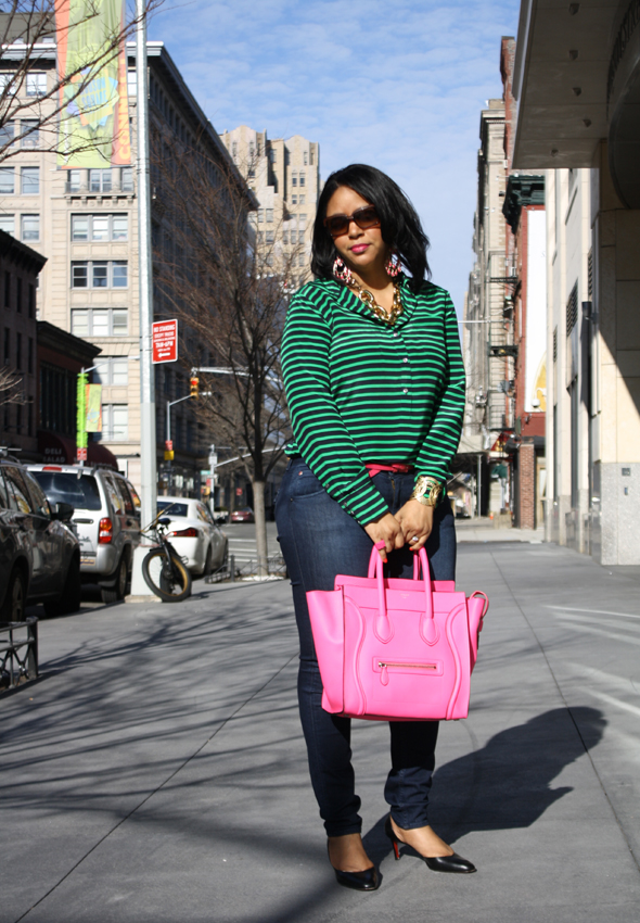 My style - J Crew striped blouse Hudson jeans hot pink/neon fluoro pink Celine Leather Luggage Tote black Christian Louboutin pumps Ben Amun gold link necklace 4