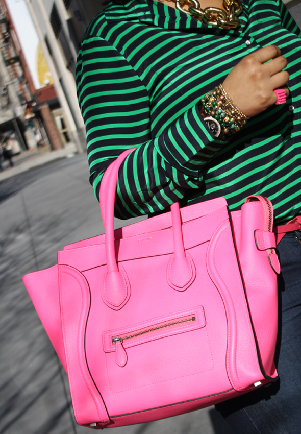 My style - J Crew striped blouse Hudson jeans hot pink/neon fluoro pink Celine Leather Luggage Tote black Christian Louboutin pumps Ben Amun gold link necklace 6