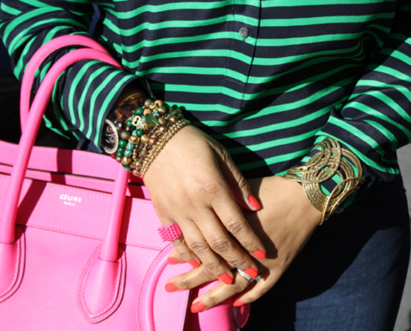 My style - J Crew striped blouse Hudson jeans hot pink/neon fluoro pink Celine Leather Luggage Tote black Christian Louboutin pumps Ben Amun gold link necklace 7