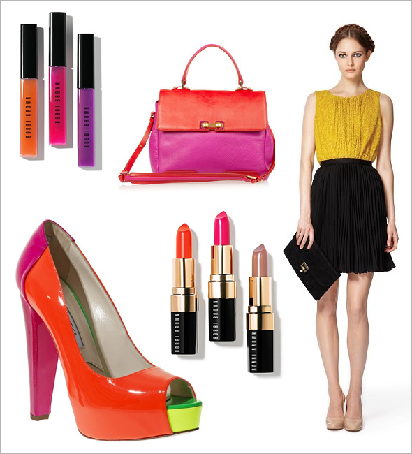 Weekly Shopping-and-Goodies Brian Atwood multicolored pumps Bobbi Brown neons and nudes lipstick and lipgloss Jason Wu for Target