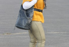 My style: Going for the gold (Yellow cardigan + Zara metallic jeans + Cleobella 'Kaya' Bucket bag + Charles David suede platform pumps)