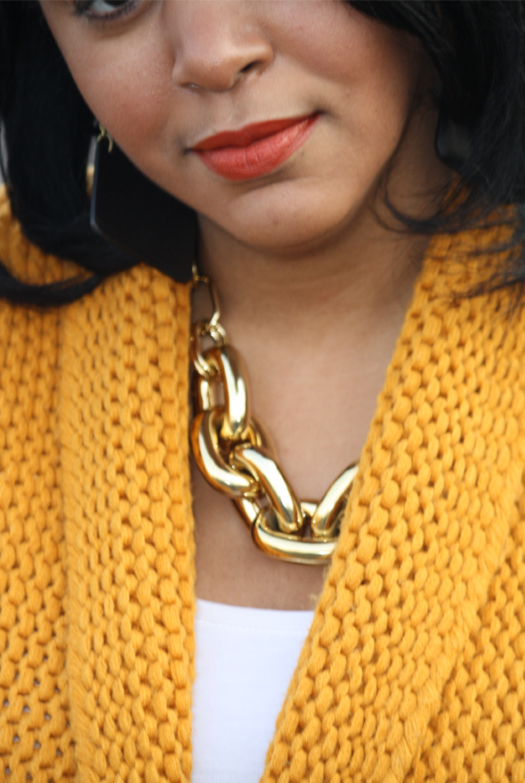 Versace sunglasses yellow sweater H&M leopard scarf gold Zara jeans Charles David pumps Cleobella bag Kenneth Jay Lane belt Ben Amun link necklace MAC Chili lipstick 7