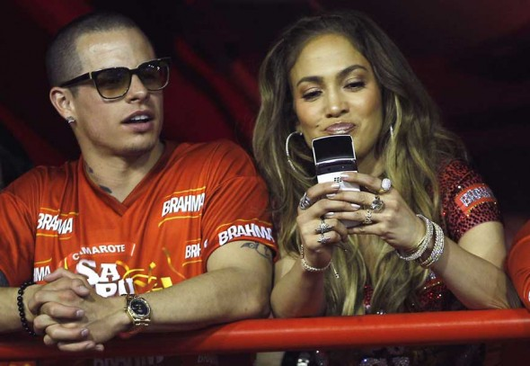 Actress Singer Jennifer Lopez wearing Norman Silverman diamond hoops and Norman Silverman diamond bangles to the Brahma at Rio de Janeiro's carnival in Rio de Janeiro