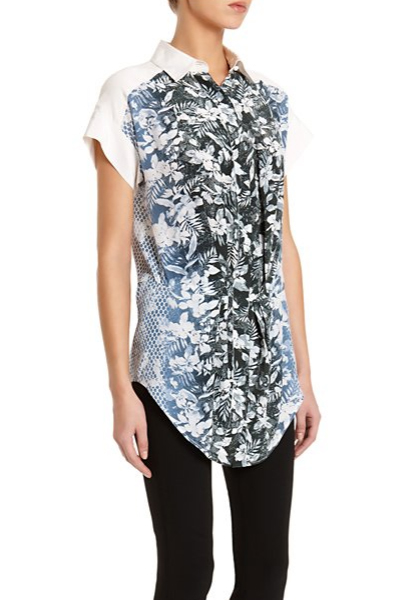 Alexander Wang Black/Blue Botanical Ombre Shirt
