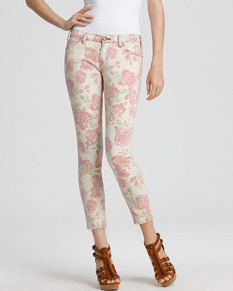 Current Elliott Jeans - Floral Printed Stiletto Jeans in Red Rose