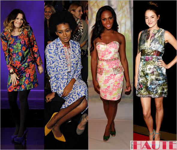 Drew-Barrymore-Solange-Knowles-Tika-Sumpter-Shailene-Woodley-floral-print-trend-Spring-2012 what's haute magazine