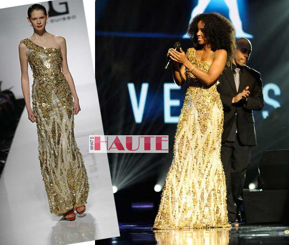 Kelly Rowland in an embellished metallic Jack Guisso gown from the designer's Spring/Summer 2011 Couture Collection