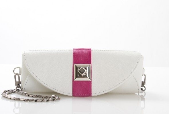 Lisa Vanderpump Handbag in white matching makeup bag evening clutch
