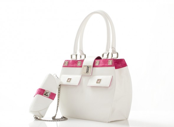 Lisa Vanderpump Handbag in white with matching makeup bag evening clutch and tablet pocket side view