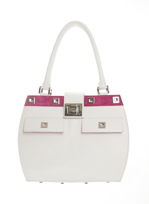 Lisa Vanderpump Handbag in white with matching makeup bag evening clutch and tablet pocket