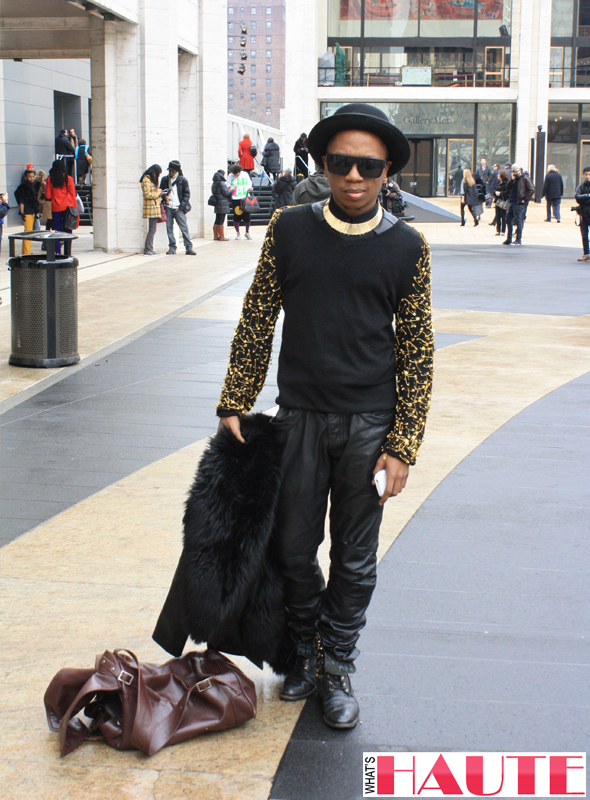 New York Fashion Week street style - black and gold safety pins