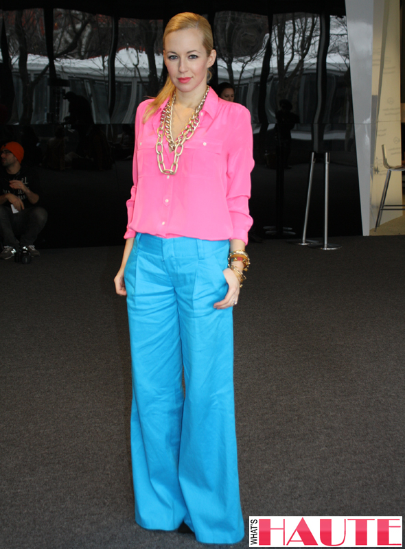 New York Fashion Week street style - Helena from Brooklyn Blonde in pink and blue colorblock