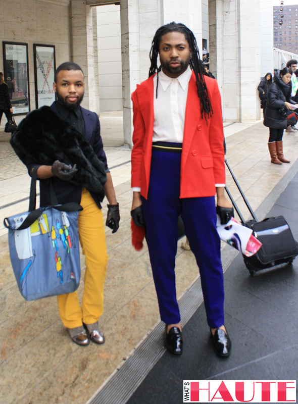 New York Fashion Week street style - men's colorblocking and fur
