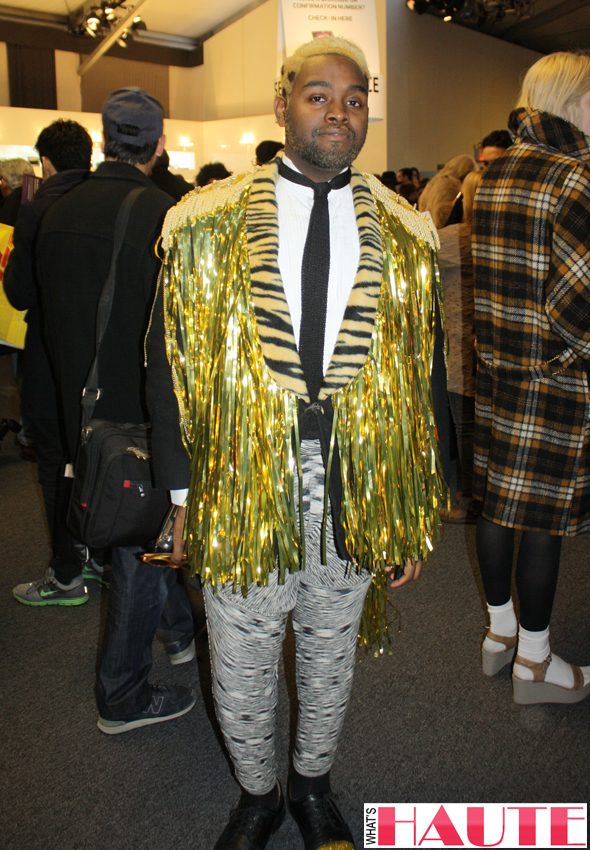 New York Fashion Week street style - gold fringed jacket with tiger print