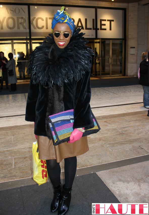 New York Fashion Week street style - turban, fur and print clutch