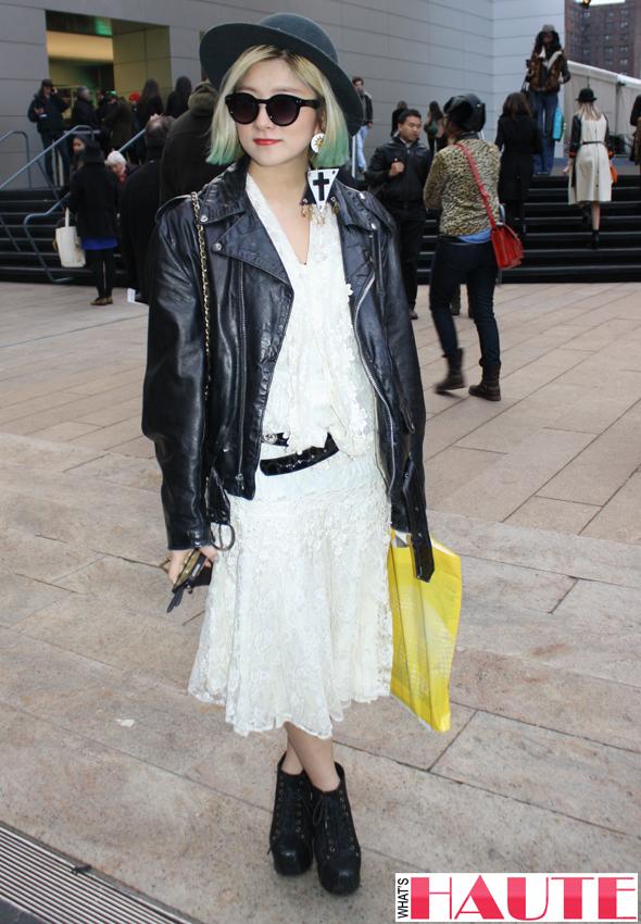 New York Fashion Week street style - white dress leather jacket