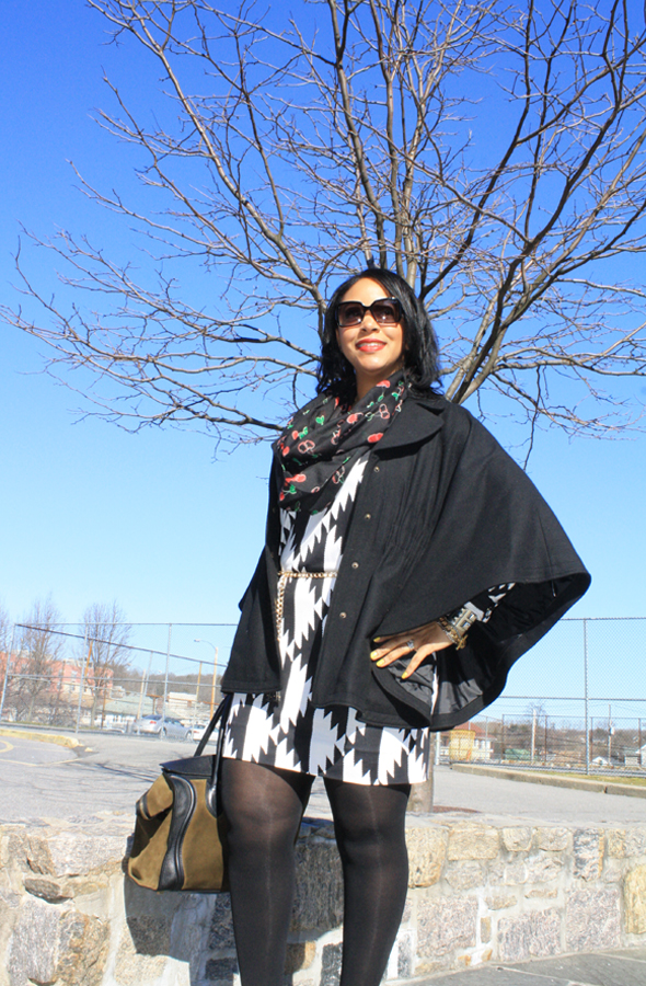 My style - Hilary Radley wool cape, H&amp;M cherry print infinity scarf, Fendi sunglasses, Diane von Furstenberg black and white print dress, Zara chain and tassel belt, No More Muffin Top tights, Max Studio booties, Celine suede and leather luggage tote