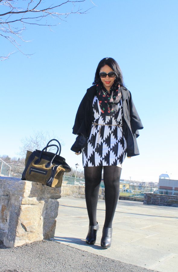 My style - Hilary Radley wool cape, H&M cherry print infinity scarf, Fendi sunglasses, Diane von Furstenberg black and white print dress, Zara chain and tassel belt, No More Muffin Top tights, Max Studio booties, Celine suede and leather luggage tote