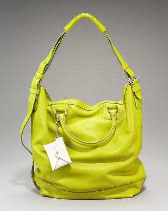Diane von Furstenberg Drew Leather Bucket Tote in lime/citron