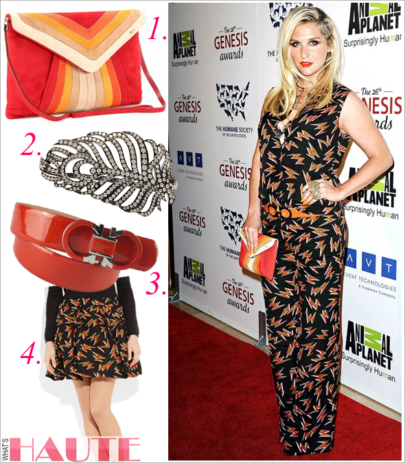 Kesha in Miu Miu lightning bolt print jumpsuit Salvatore Ferragamo orange suede clutch