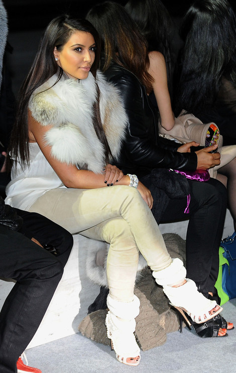 Kim Kardashian in Kanye West for Guiseppe Zanotti heels - Paris Fashion Week front row