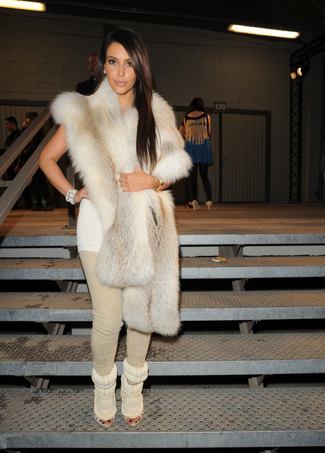 Kim Kardashian in Kanye West for Guiseppe Zanotti heels - Paris Fashion Week