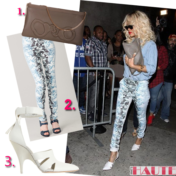 Rihanna in Alexander Wang Joan Mule Pumps and Botanical Ombre Jeans and Vlieger & Vandam Handcuffs clutch