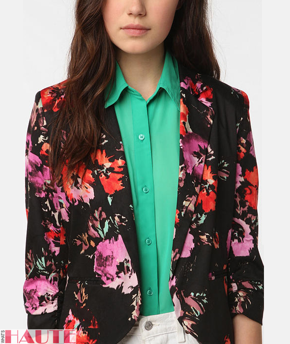 Sparkle & Fade Printed Cropped Ruched Sleeve Blazer - Fashion on What's Haute