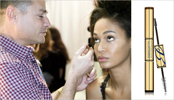Tom Pecheux with model Joan Smalls at Derek Lam New York Fashion Week, Estee Lauder Sumptuous Two Tone Eye-Opening Mascara