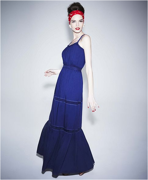 Alberta Ferretti for Impulse at Macy's blue maxidress