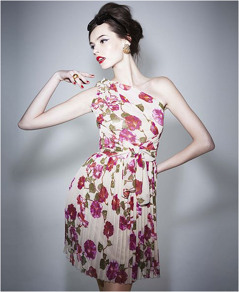 Alberta Ferretti for Impulse at Macy's floral print pleated dress