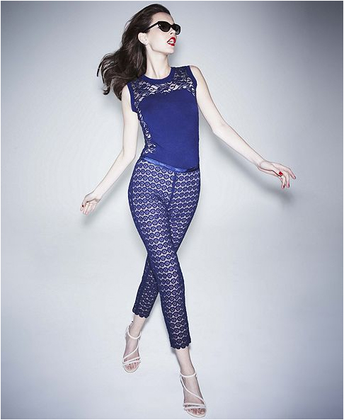 Alberta Ferretti for Impulse at Macy&#039;s lace blue top and leggings