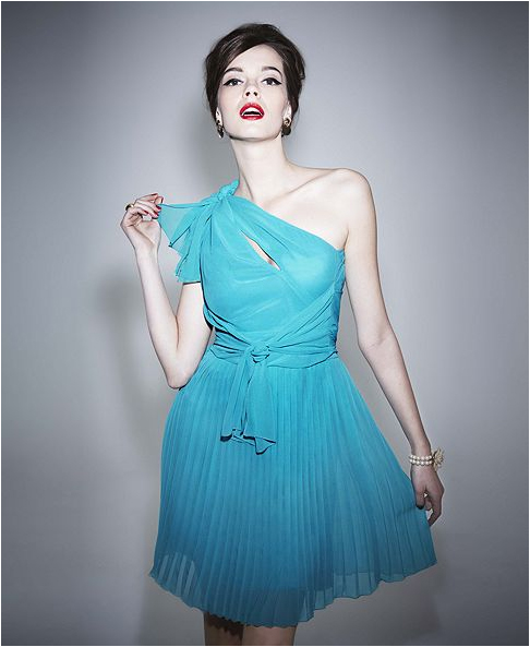 Alberta Ferretti for Impulse at Macy's pleated blue dress