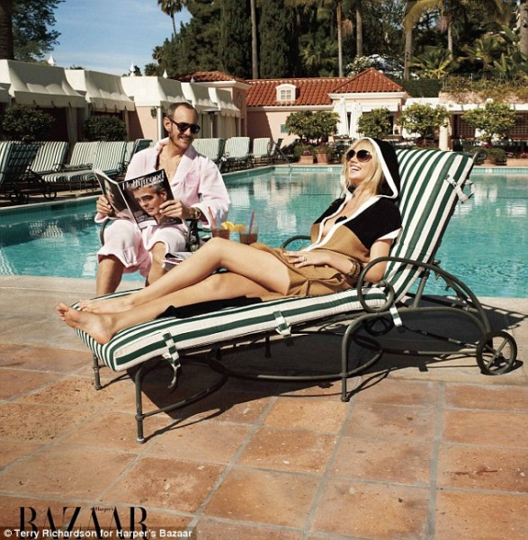 Kate Upton and photographer Terry Richardson for Harper's Bazaar at the Beverly Hills Hotel