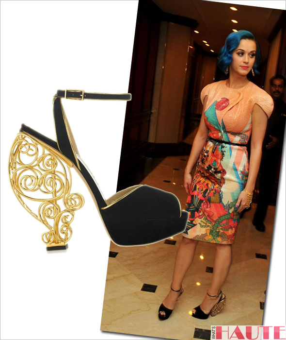 Katy Perry in Manish Arora and Charlotte Olympia Avalon shoes