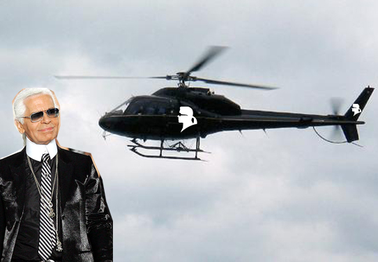 Karl Lagerfeld designing helicopters