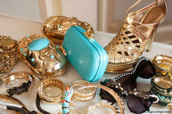 ANNA DELLO RUSSO HANDBAGS JEWELRY SUNGLASSES AT H&M, gold turquoise clutches, crystal sunglasses, gold sandals - WHAT'S HAUTE MAGAZINE